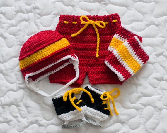 BABY HOCKEY OUTFIT Boys Helmet Hat Pants Socks & by Grandmabilt