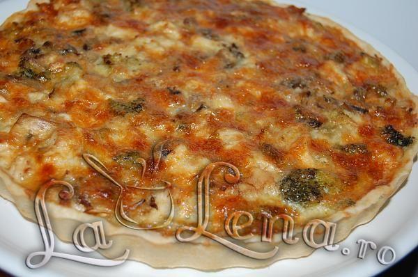 Quiche(Tarta) cu pui, ciuperci si broccoli