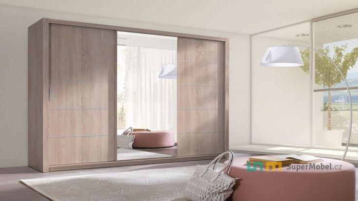 Šatní skříň 250 cm, s posuvnými zrcadlovými dveřmi | SuperMobel.cz