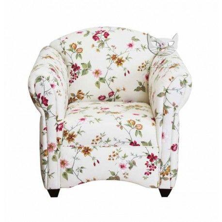 Fotel w kwiaty z niskim oparciem - Maribel