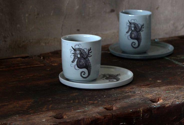 Opinio Creatura | Hippocampus Unicornis. Handmade tableware. #porcelain #wheelthown #ceramics #decals
