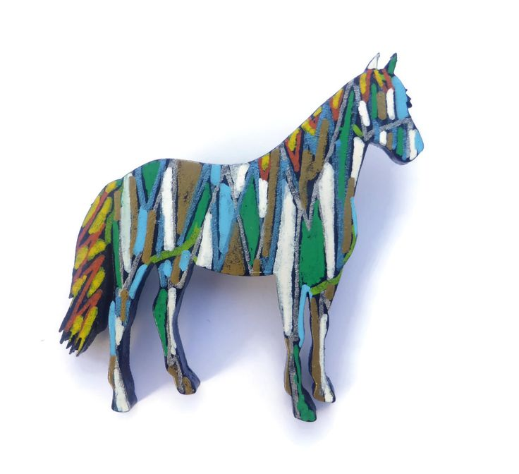 Horse Jewelry For Girls, Horse Art, Wearable Art, Horse Brooch, Abstract Art, Horse Gifts, Handmade Horse Jewelry, Equestrian Jewelry, by Larryware on Etsy