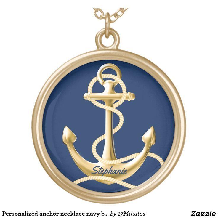 Personalized anchor necklace navy blue gold. Gold color nautical pendant necklace.