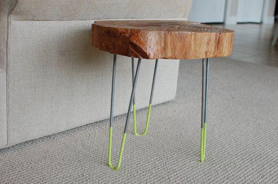 Tree slice coffee table with retro mid century legs for Tree slice coffee table