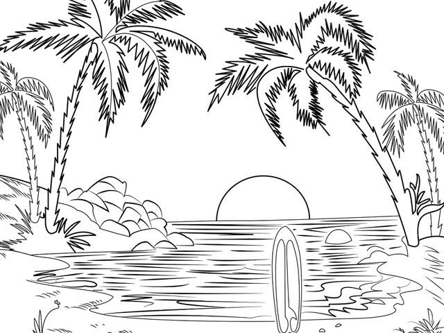 Sketsa Pemandangan Lautan Dengan Gambar Pemandangan Gambar