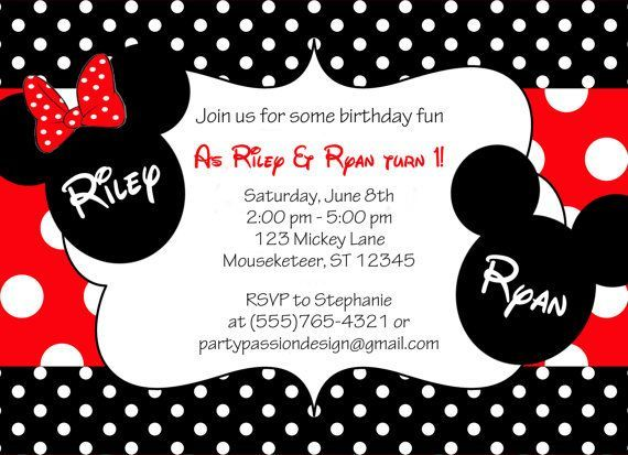 Mickey and Minnie Twin Birthday Invitations | Party Ideas for Kids | Pinterest | Twin birthday ...