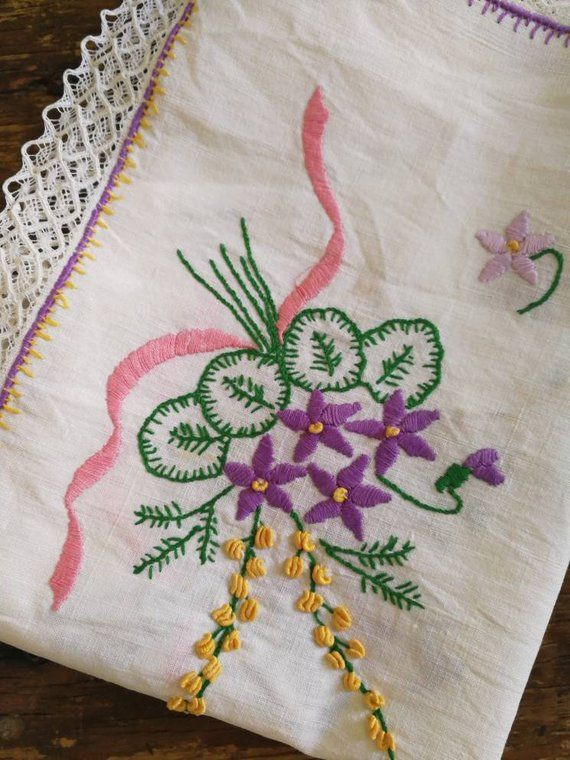 Pretty Purple Rose Embroidery Hand Crochet Cotton White Table runner