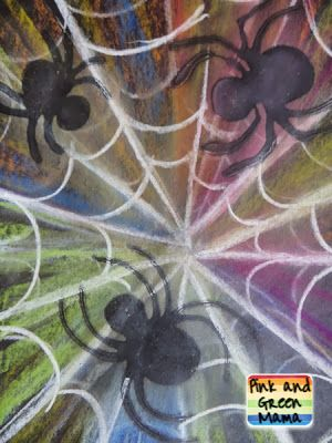 Pink and Green Mama: Make Spooky Spider Webs with Colored Chalk and School Glue!