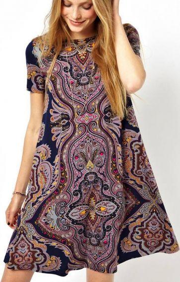 O-образным вырезом Короткие рукава Тотем Pattern Печать старинные платья