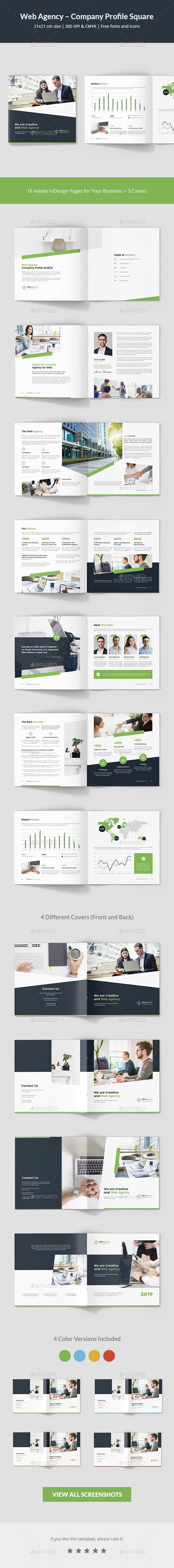 Web Agency - Company Profile Square Brochure Template InDesign INDD