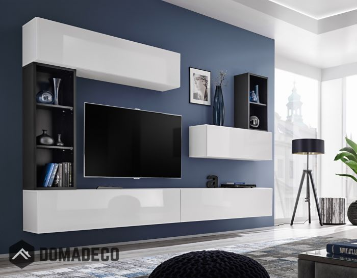 Boise I Black White Tv Wall Unit Living Room Wall Units Tv