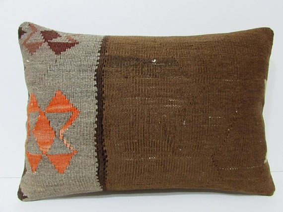 brown kilim pillow 16x24 brown pillow cover brown pillow case brown throw pillow brown cushion cover brown decorative pillow brown rug 21248