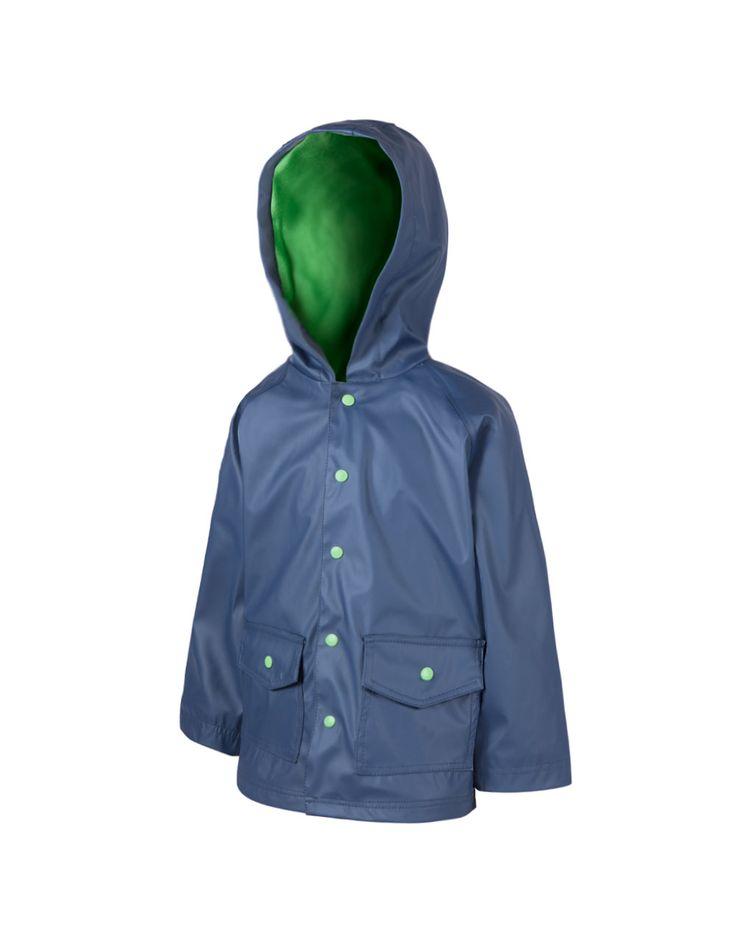 Oakiwear Kid's Navy & Green Rain Coat | Oakiwear - Rain Gear, Kids rain suits, kids waders, kids rain gear, and kids rain coats