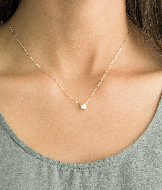 Delicate CZ Necklace / Tiny Diamond Pendant 14k by LayeredAndLong