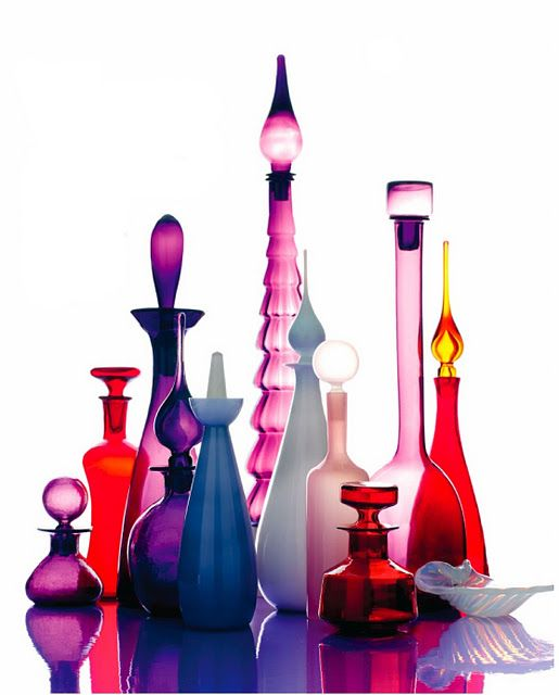 Love grouping different styles and sizes of glassware within the same color scheme.