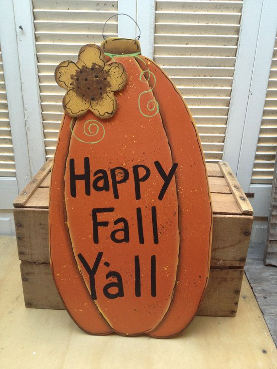 Large Happy Fall Yall Pumpkin Door Hanger Fall by SouthernSupply, $16.00