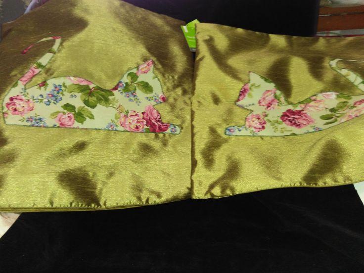 appliqued cushion cover pair $25