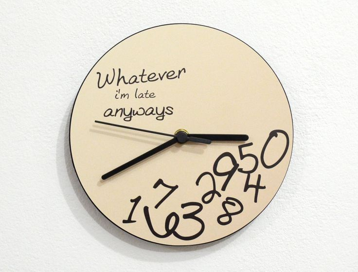 Whatever I'm late anyways Beige  Wall Clock by SolPixieDust