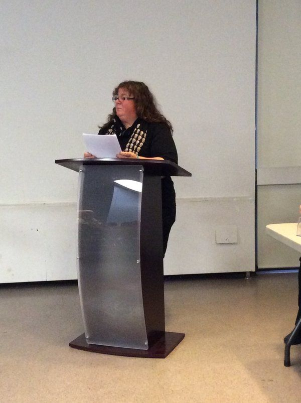 Alison Bruce reading from her Novel, A Bodyguard to Remember at the Guelph Partners in Crime Author Panel, Apr. 7/16