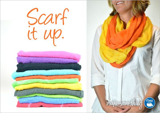 Add some color with these #DIY no-sew scarves from @Dritz Sewing