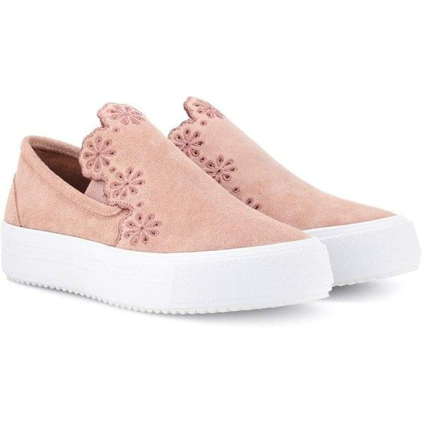 See By Chloé Slip-on Suede Sneakers ($310) ❤ liked on Polyvore featuring shoes, sneakers, pink, slip-on sneakers, pink sneakers, suede slip on shoes, pink suede sneakers and suede slip on sneakers