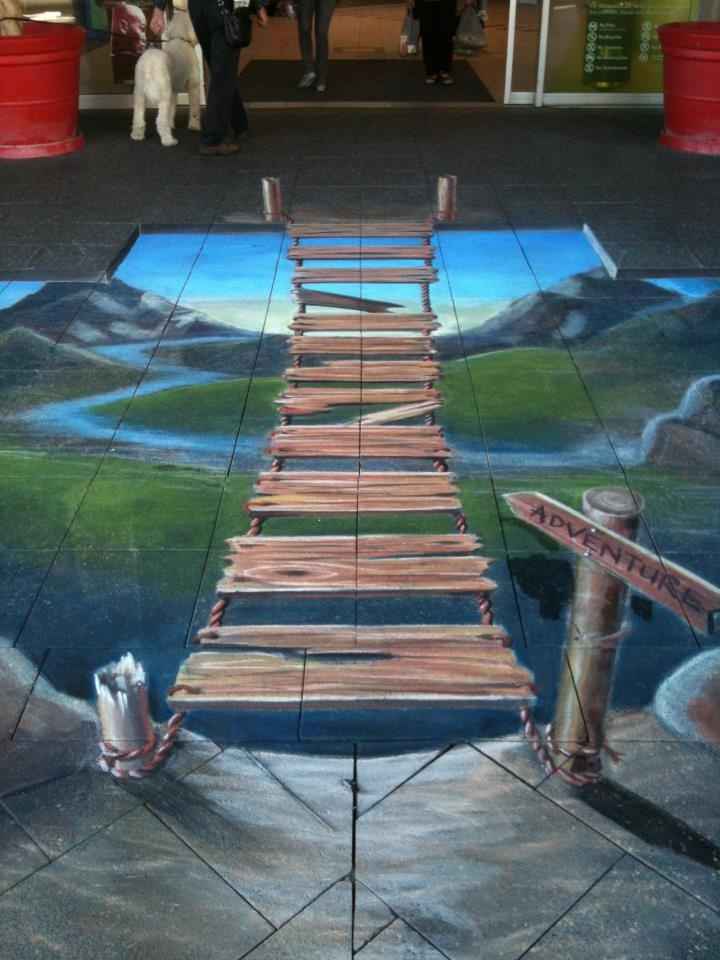 Ulla Taylor's 3D bridge chalk art at Woolstores in WA, as part of the Fremantle Street Arts Festival.