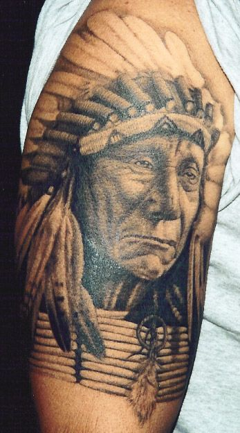 Indian Chief Portrait Tattoo by Corey Miller -chief-portrait-tattoo-by-corey-miller/
