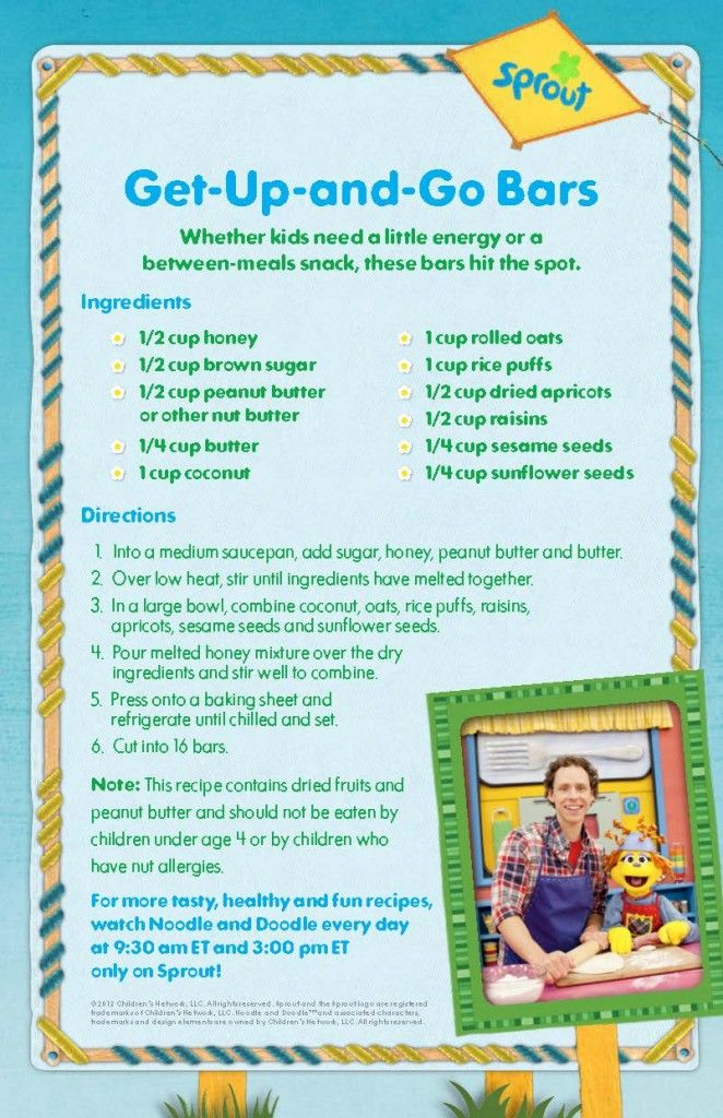 """""""Get up and Go"""" bars. A healthy and fun recipe from Sprout's Noodle and Doodle."""