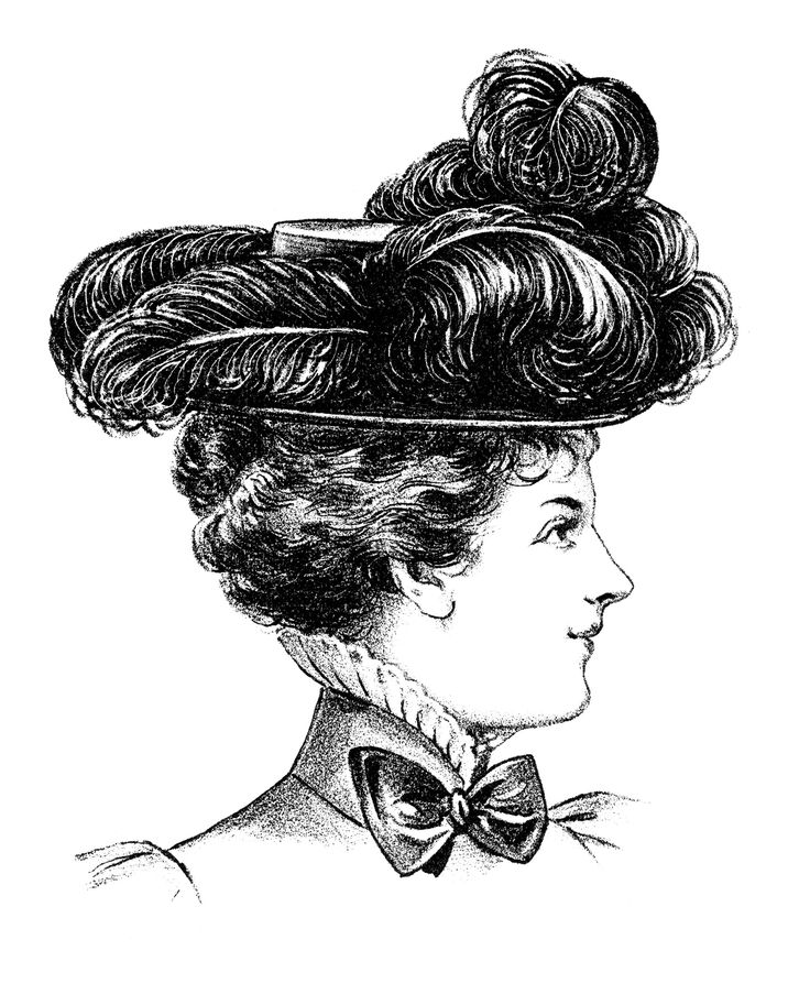 ... Vintage Hat Clip Art, Black And White Clipart, Ladies Hat On Stand ...