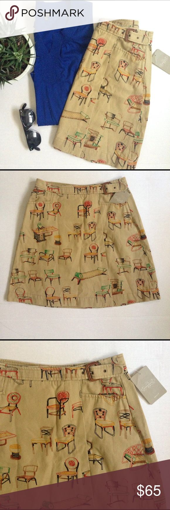 """Anthropologie chairs wrap skirt Very cute Anthropologie chairs canvas wrap skirt in natural. In brand new condition. Fun way to wear for spring or summer. Above the knee length. Length measures 17.5"""" Anthropologie Skirts"""