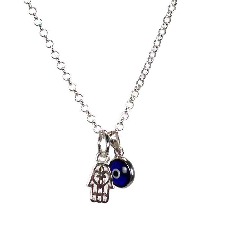 Collier pendentif main de fatma oeil bleu en argent 925