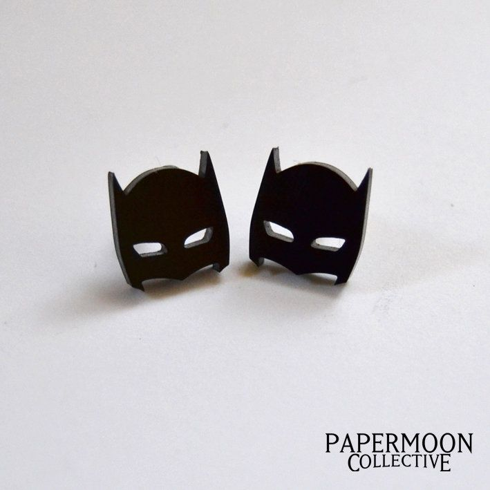 Batman Mask Earrings by Papermoon Collective for sale on http://hellopretty.co.za