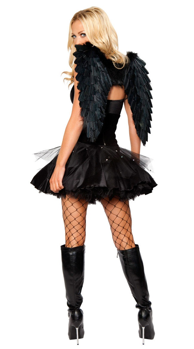 Sexy Dark Angel Costume with Feather Wings                                                                                                                                                                                 More