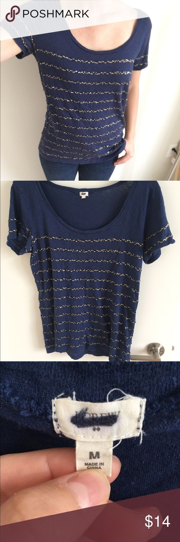 J Crew sequin shirt! Navy blue j crew sequined shirt with gold and navy blue sequins wrapping around the entire shirt. Worn a handful of time. J. Crew Tops Tees - Short Sleeve
