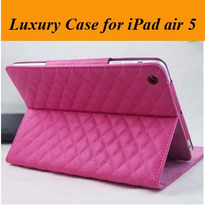 Hot Sale! Luxury Sheepskin Leather Plaid Case for iPad Air 5 9.7 inch,Smart Cover for iPad air with Stand Free Shipping $12.49