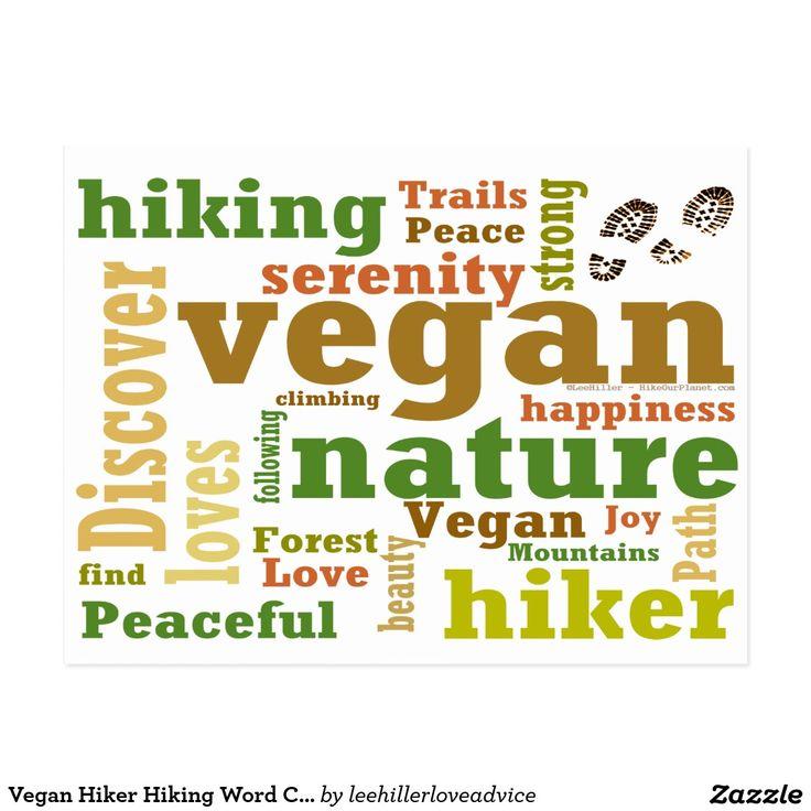 Vegan Hiker Hiking Word Cloud Postcard