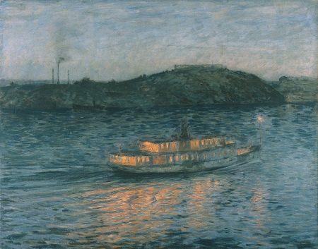 Upplyst ångbåt