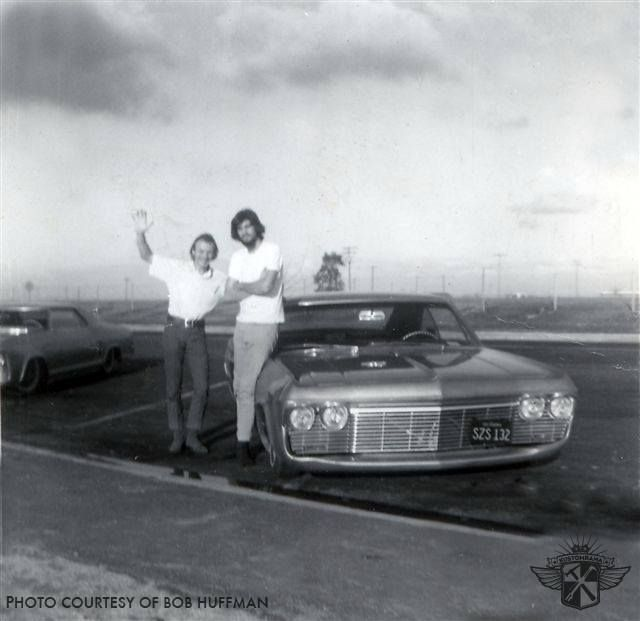 A photo of Bob Huffman and Tom Chafin taken on their way home from an indoor car show in Seattle in January of 1967. The two buddies are leaning up against Bob's Impala. Tom's chopped 1963 Buick Riviera can be seen in the background. Both cars were lifted. More photos from the trip can be found here: http://ift.tt/2nIMLGU