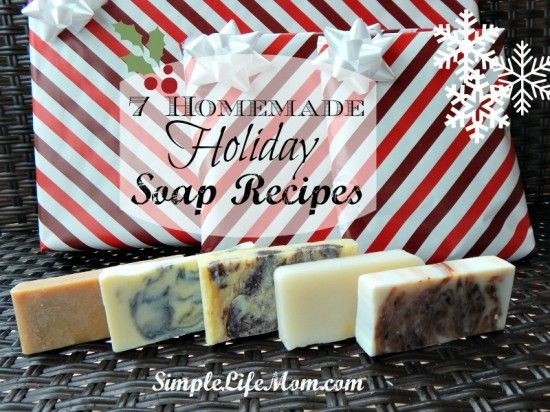 7 Homemade Holiday Soap Recipes - perfect for Christmas, Thanksgiving, or winter. Homemade Soap with cloves, cinnamon, peppermint, fir, and other essential oils.