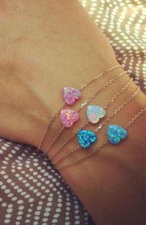 so lovely opal heart bracelets