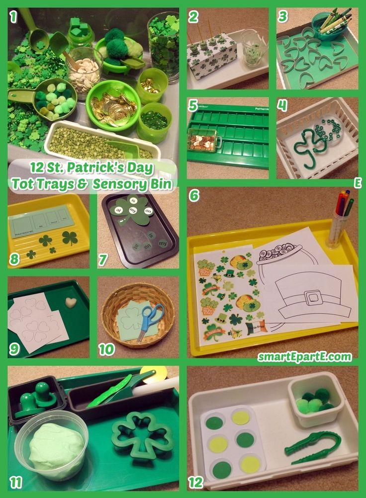 "12 St. Patrick's Day Tot Trays & ""DIY"" Sensory Bin"