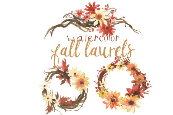 Watercolor Fall Flowers Clipart flowers Fall Decor ...