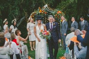 ceremony recessional - photo by Brian Evans Photography http://ruffledblog.com/vibrant-eclectic-wedding-in-palm-springs