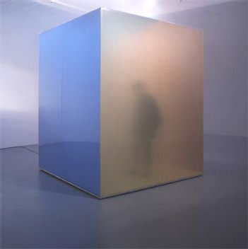 In this installation Janssens' use of coloured mist is contained within a reference to minimalist sculpture.