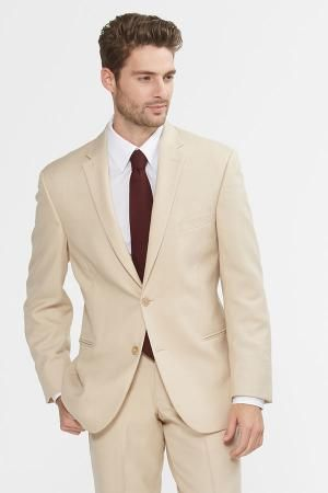 The Havana. This khaki suit is two button with single breasted styling and a side vented back. | menguin.com