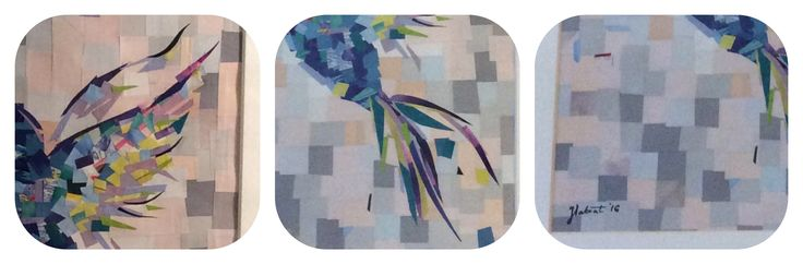 Blue hummingbird details, paper art made by a PieceOf Paper City