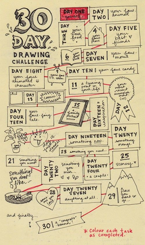 30-day drawing challenge-- looks like an excellent one.