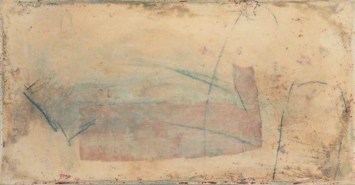 »Marseille« Tempera, Collage, Enkaustik auf Leinwand, 57 x 30 cm
