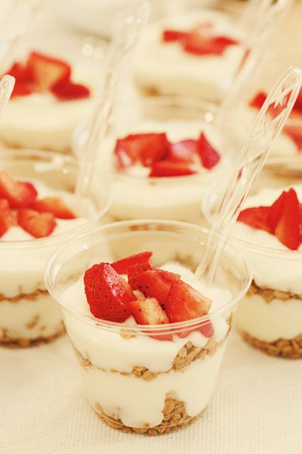 Yogurt at a rustic wedding!  See more party ideas at CatchMyParty.com!  #partyideas #wedding