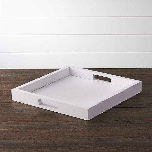 Zuma White Tray   Crate and Barrel